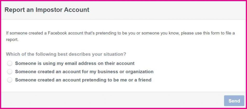 facebook report an imposter account