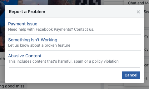 Report something isn't working on Facebook