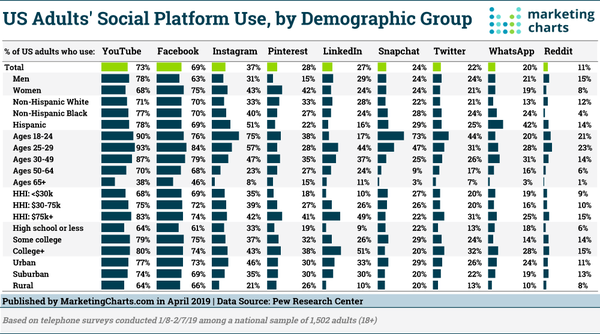 Social platform use by demographic group