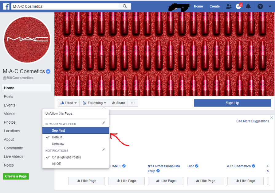 choose to see the posts of your favorite brand first on Facebook