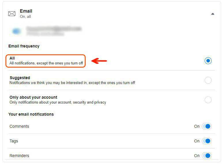 Facebook email notification 3