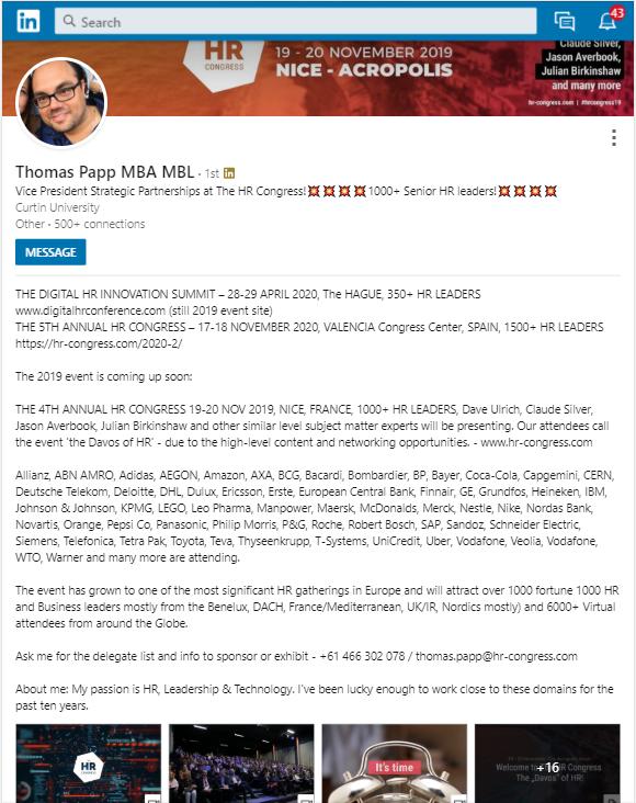 Forman LinkedIn bio