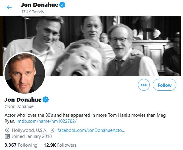 Jon Donahue twitter bio