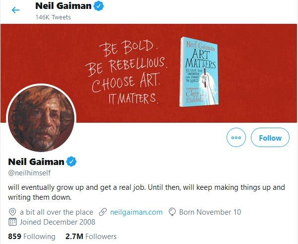 Neil Gaiman twitter bio