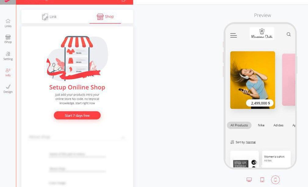 The preview of your online store on iLink dashboard