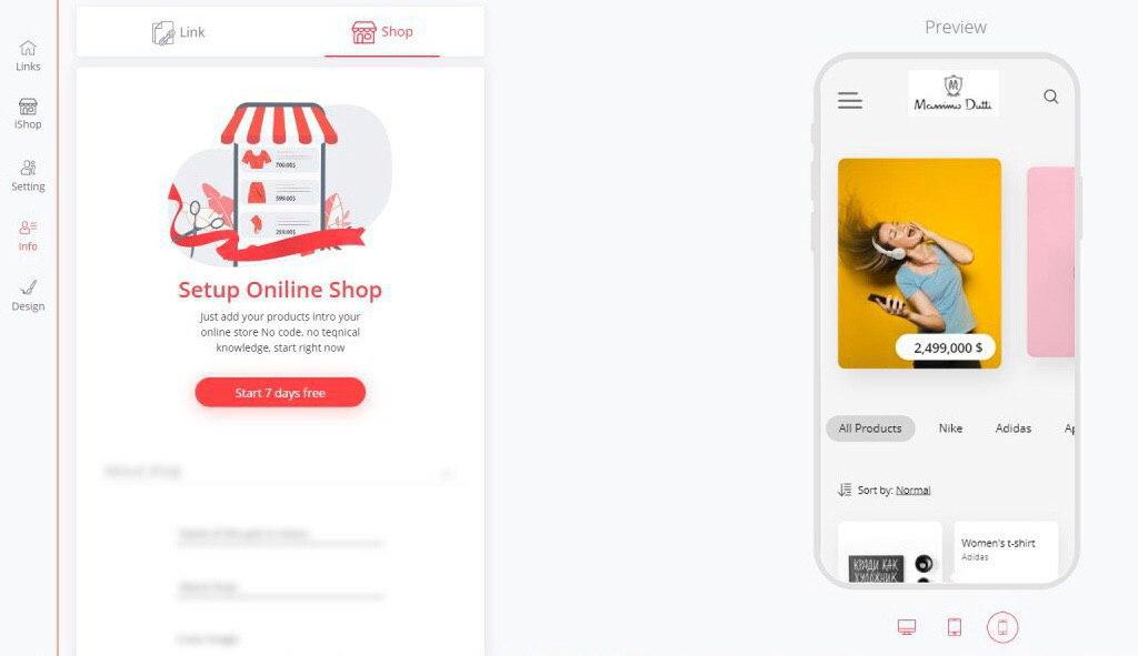 preview of building online boutique with iLink's iShop
