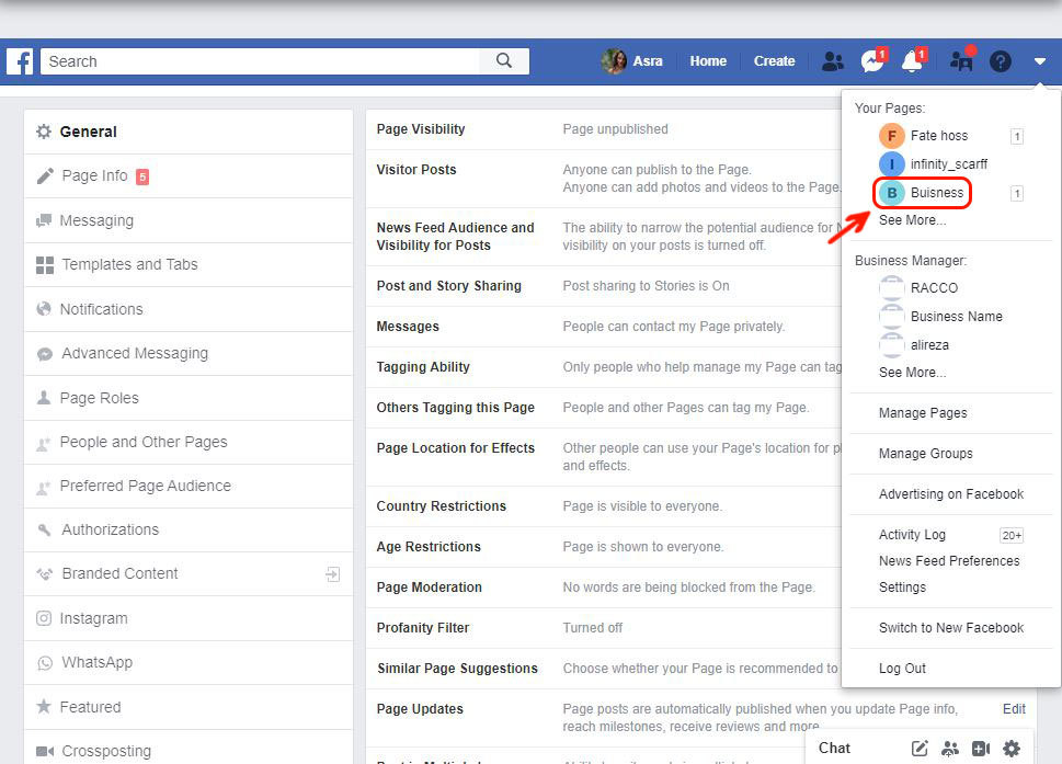 Open Facebook triangular icon and click on the page you are going to delete